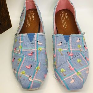 TOMS Flamingo CLASSICS Embroidered Slip On Shoes-9